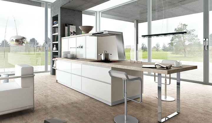 White open concept European kitchen ,GTA