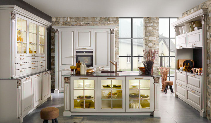 European tradition white kitchen by BauFormat