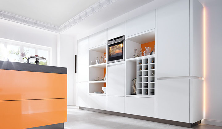 European Luxury white and orange kitchen by Bau Format, Vaughan