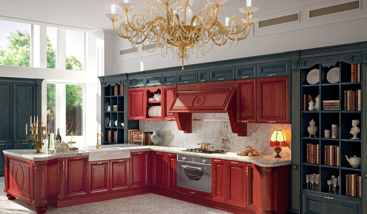 Dark gray and red traditional kitchen by Lussora Kitchens