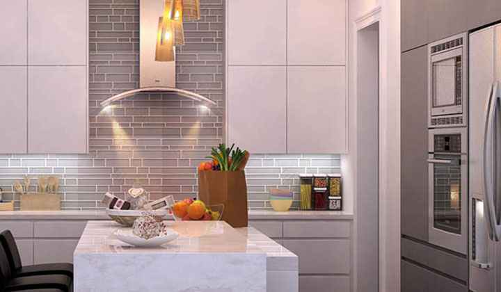 Modern style white kitchen with stainless steel appliances, Toronto