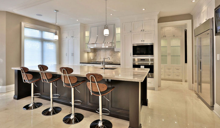 Transitional white kitchen , designed and build by Houser Fine Cabinetry
