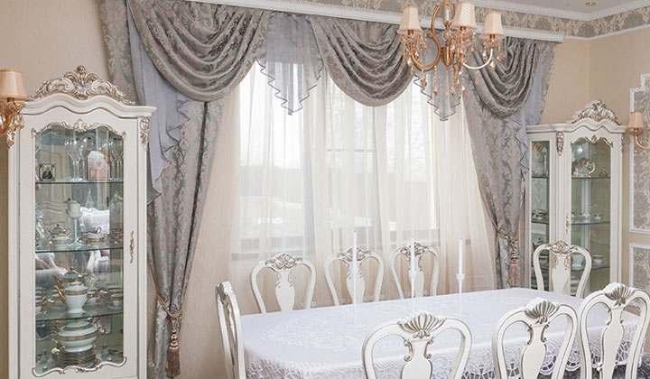 Dining Room custom drapery set by Haute Couture Drapery, Toronto