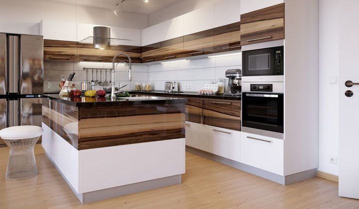 Modern Eurpean style white kitchen with wooden accents by Focus Kitchen Cabinetry