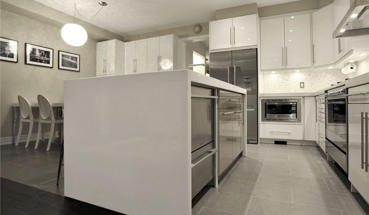 Glossy white modern kitchen with built in stainless steel appliances, Vaughan