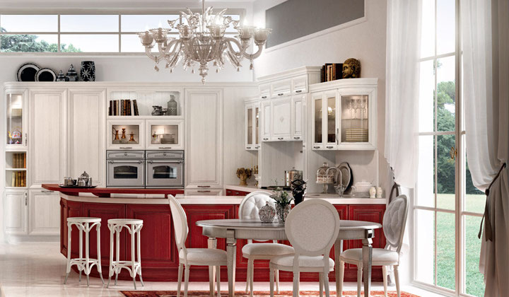 Traditional Italian white and red combination kitchen