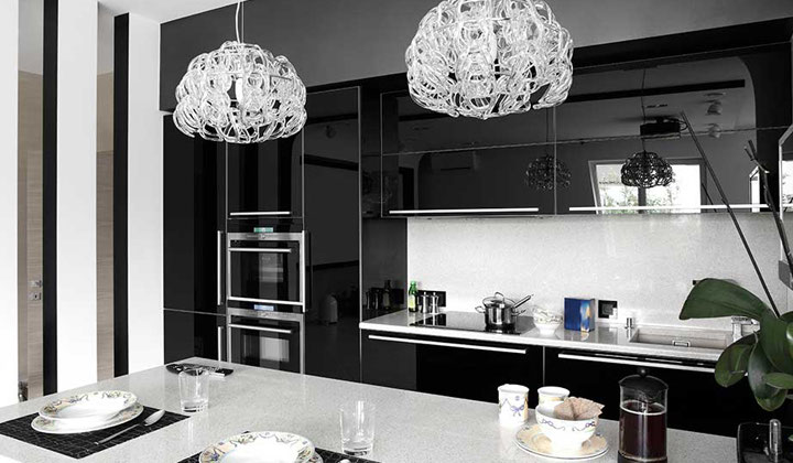 Modern black kitchen with built in appliances, Toronto