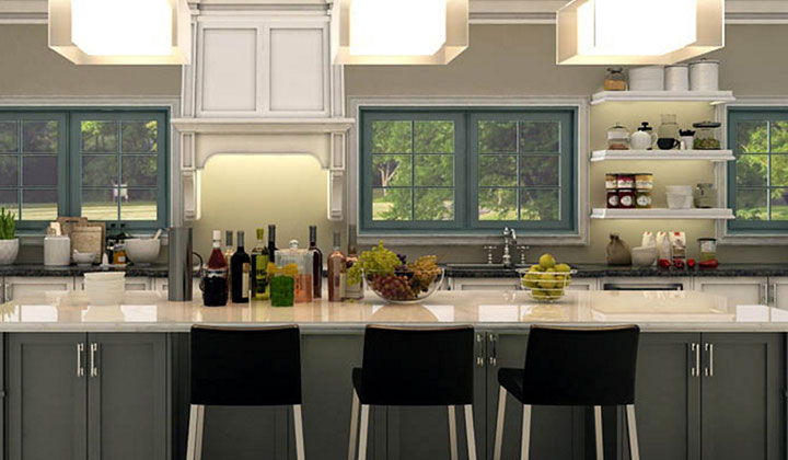 Transitional white and gray kitchen , designed and built by TOBI, Markham