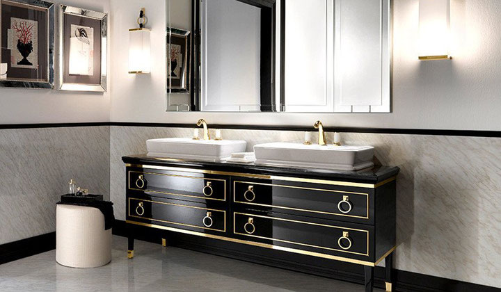 Black double sink vanity, Italian quality and design, Vaughan