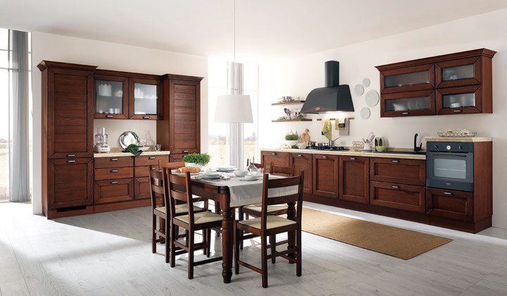 LUBE Traditional Italian kitchen dark wood by Lussora Kitchens