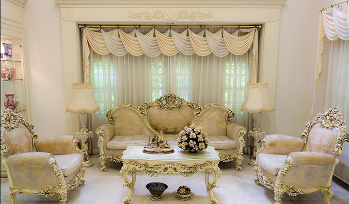 Living Room custom order draperies by Haute Couture Drapery, Woodbridge