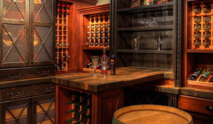 Custom made wooden winery room