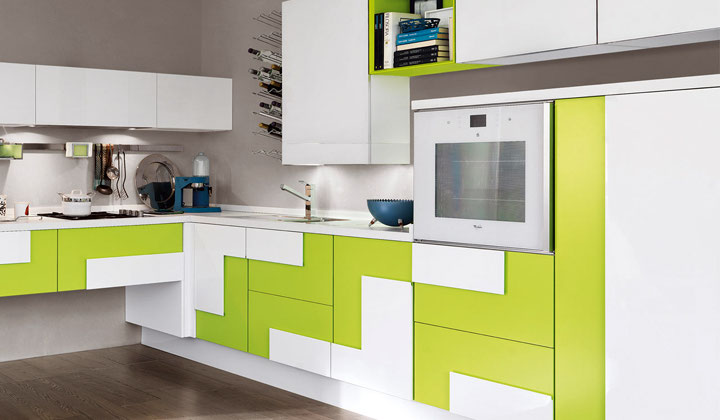 Bright green and white modern kitchen by Lussora with built in appliances