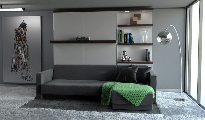 Sofa-bed with wall unit and storage by Matrix wallbeds