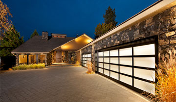 Foam-injected full view aluminum garage doors with frosted windows, B.J. Electric