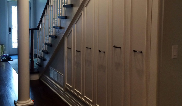 Custom mader understairs storage cabinets, great space saving solution by DK & More, Vaughan