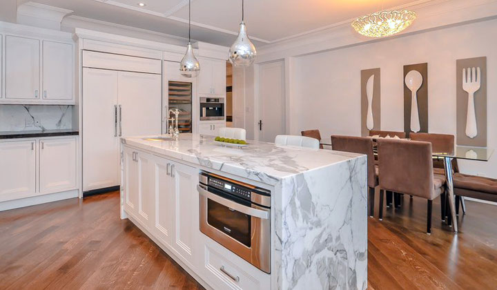 Kitchen renovation, design feature marble island by Miracle Marble
