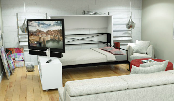 Smart space saving solutions, white wall bed with storage