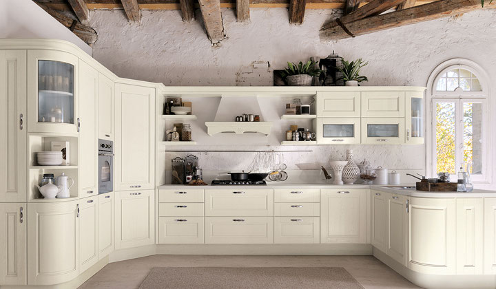 Traditional Italian white kitchen, quality kitchen  by LUBE brand