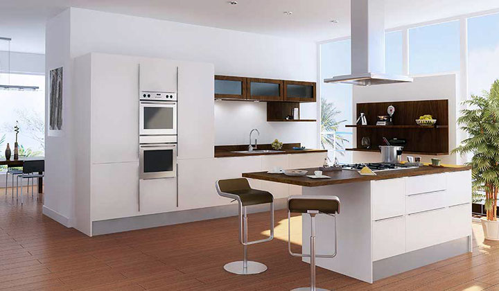 Modern glossy white kitchen with built in appliances by Lanxin, Vaughan
