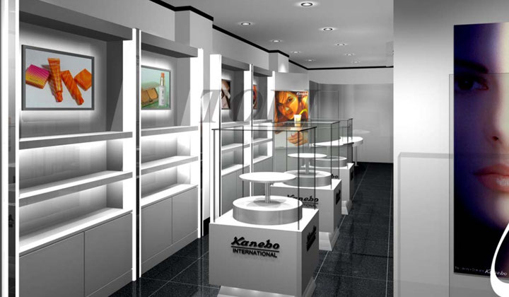 Storefront custom storage shelves and front display cabinets by TOBI, Toronto