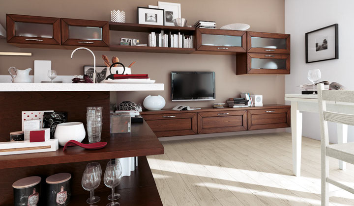 LUBE Italian kitchens, modern style chocolate brown cabinets with white quarts counter
