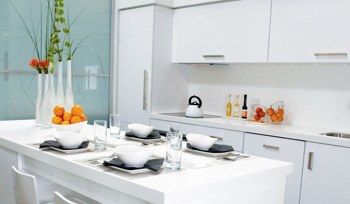 White glossy kitchen by Cartier Kitchens, GTA