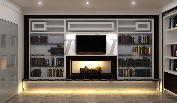 Storage cabinetry, custom wall unit for living room by TOBI, Maple