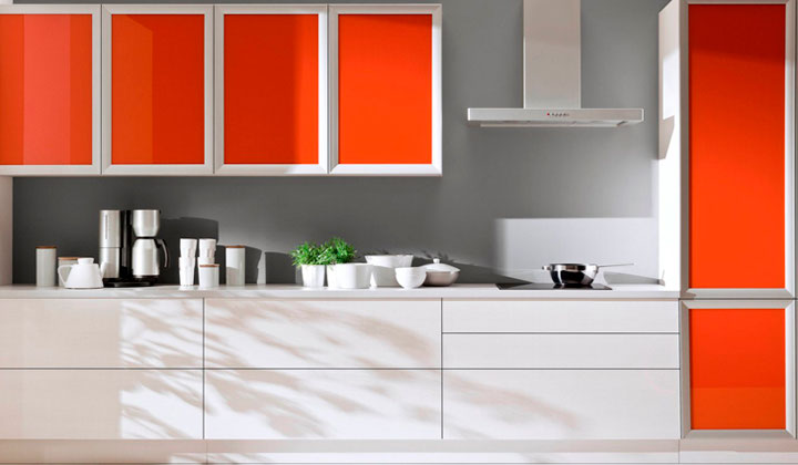 Orange and white Modern glossy Kitchen by Komandor Canada