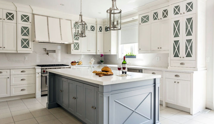 Traditional With kitchen with gray island, custom kitchen cabinets by Houser Fine Cabinetry