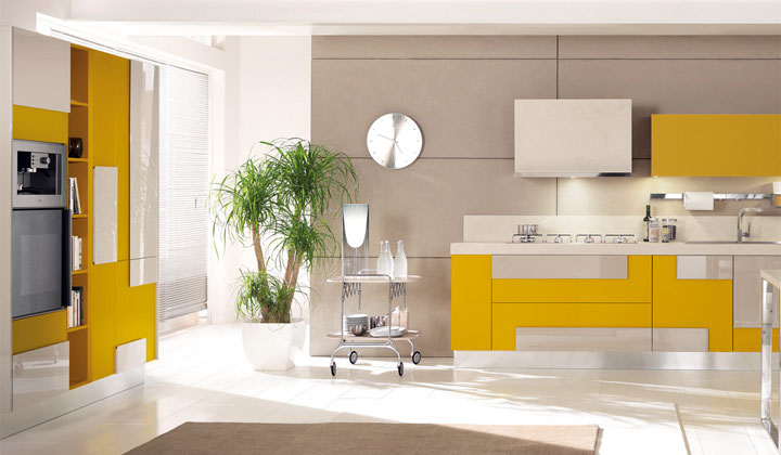 Modern Italian kitchen, combination of bright colors gray and orange Kitchen, Thornhill