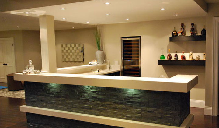 Basement kitchenette and bar