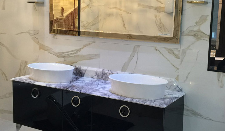 Double sink vanity with marble counter top, European design , Toronto