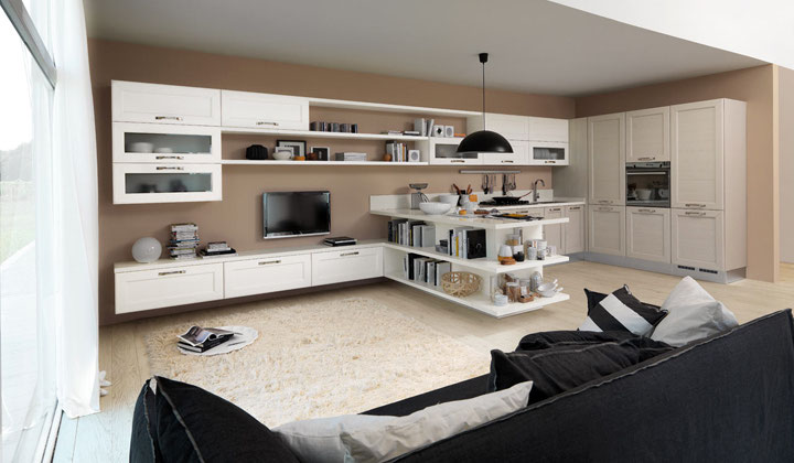 White modern custom made Wall unit for living space, designed and installed by Lussora Studio, Richmond Hill