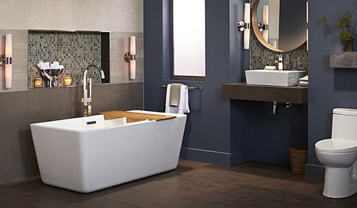 American Standard freestanding tub, bathroom vanity, toilet, ceramic vessel sink and tub faucet