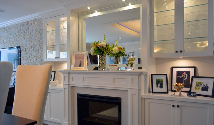 Traditional white designer living room cabinetry solution wit a fireplace, Vaughan