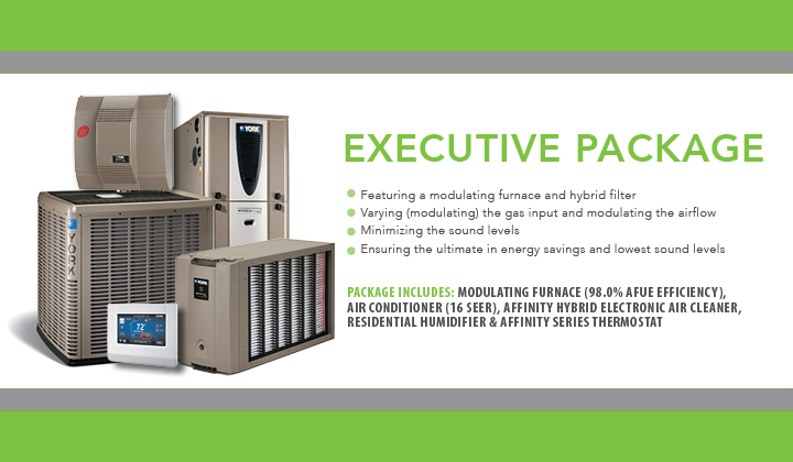 Executive Package featuring modulating furnace and hybrid filter, lowest sound level