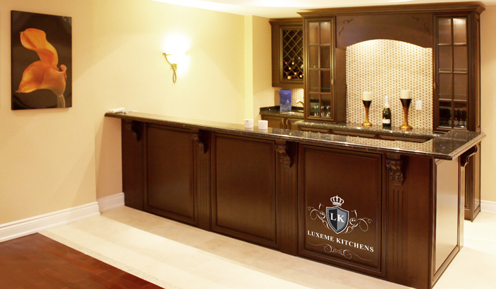 Traditional Bar , walnut cabinets