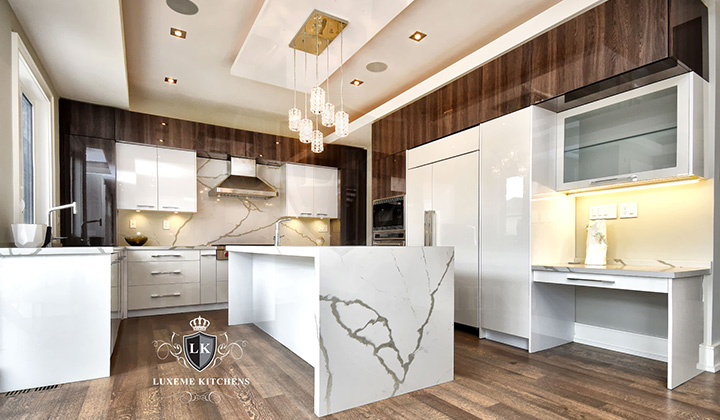 Modern kitohene white walnut  Kitchen by Luxeme Kitchens, Toronto