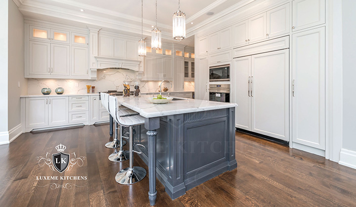 Traditional white Kitchen with gray island, design and renovation by Luxeme kitchens