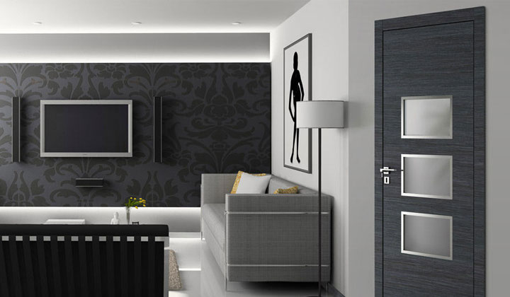 Charcoal gray European interior door