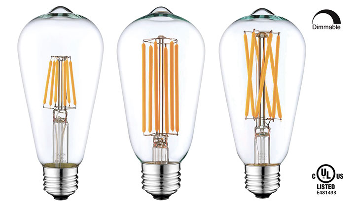 YUURTA Edison Style  LED Filament Light Bulbs Model ST64 5W/6.5W 2700K/2200K