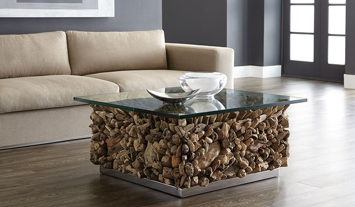 Designer furniture, unique wood and glass coffee table