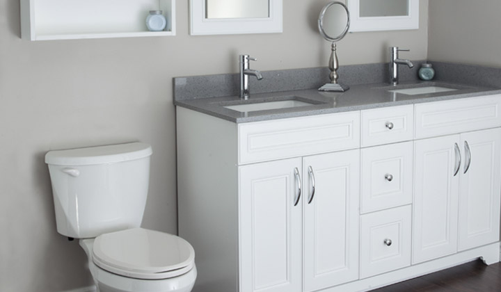 Dove white doble sink bathroom vanity