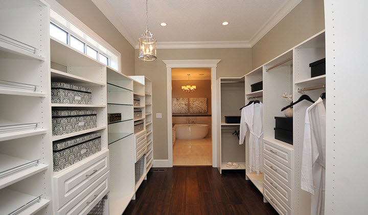 Custom walk in closet white by Doctor Wood