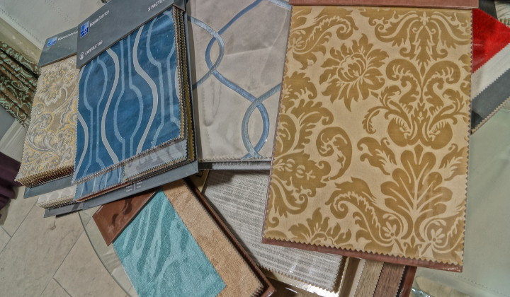 Fabric selection. We carry many kinds of different fabric materials with thousands of different designs and colors to choose from.