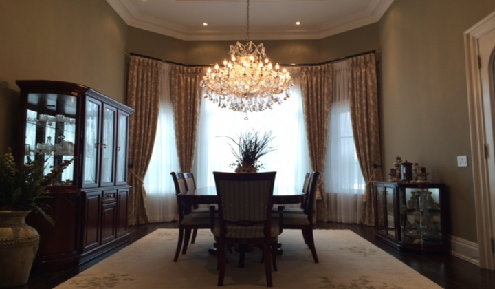 Pinch pleated curtains and shades, custom order for dinning room