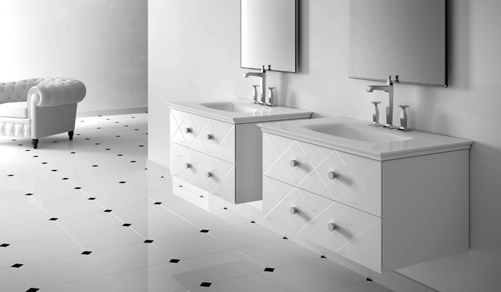 White designer single sink vanities