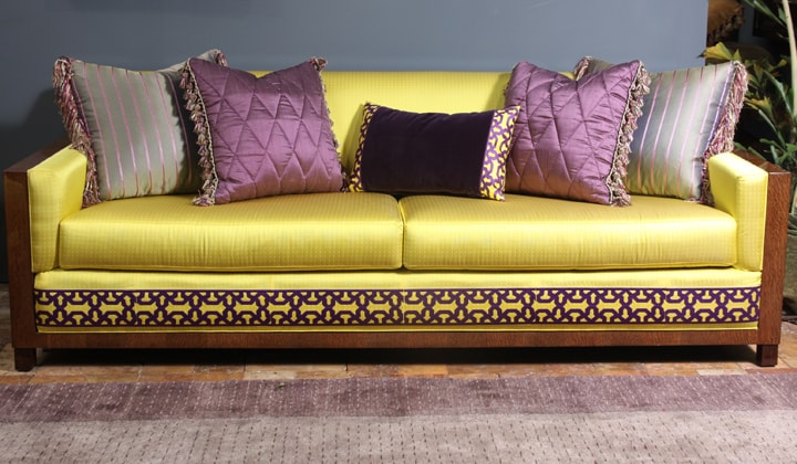 Golden fabric and wood unique design sofa by Art Boulle