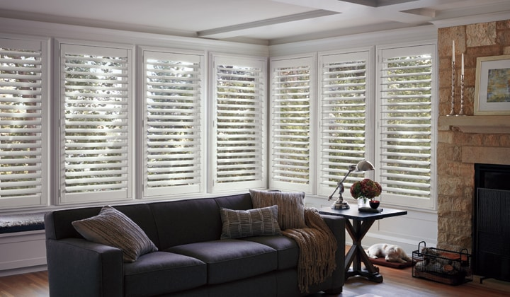 White bay window custom fit shutters